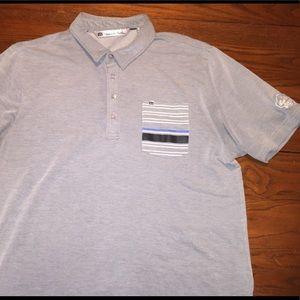 Travis Mathew Golf Polo Men's L Gray Pocket SOFT